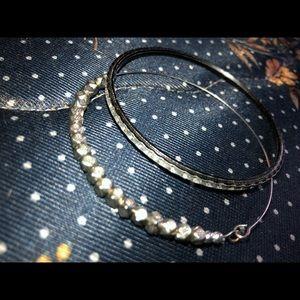 Black diamond stoned bracelet & silver bracelet